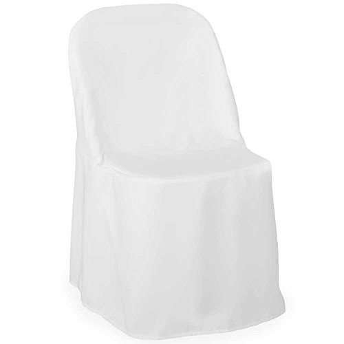 Lann's Linens Premium Polyester Folding Chair Cover - for Wedding or Banquet Use - White - 10pcs