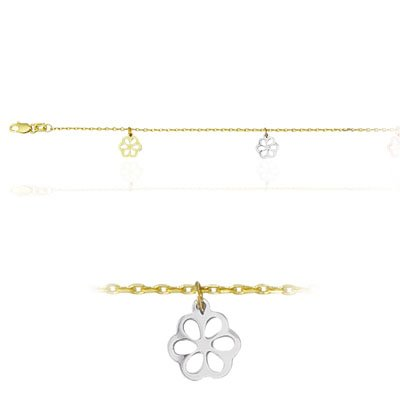 Adjustable Dangling Floral Design Anklet in 14K Two Tone Gold