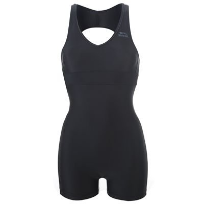 Slazenger Boyleg Swimming Suit Ladies Black/Charcoal