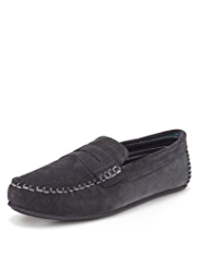 Freshfeet™ Suede Saddle Moccasins with Silver Technology