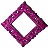 "Neon Magenta Square Mirror Frame, Wood (11"" X 1"" X 11"", Neon Magenta)"
