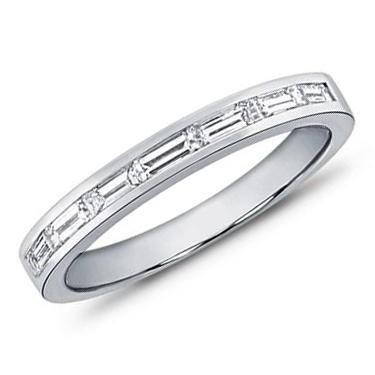 1.00 ct TW Ladies Baguette Shape Diamond Wedding Band in 18 kt White Gold