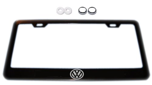 VW logo Black License Plate Frame w/ Screw Covers (Vw License Plate Frame For Women compare prices)