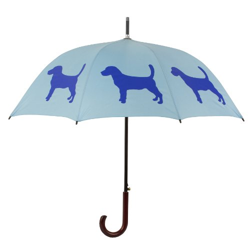 Beagle Umbrella Powder Blue on Blue 34.5