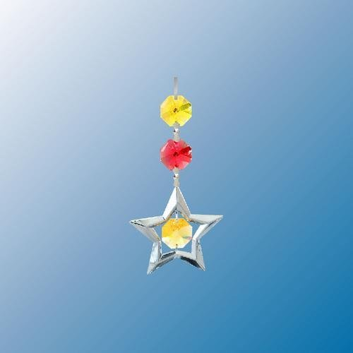 Chrome Plated Star ... Hanging Sun Catcher Or Ornament..... With Yellow Color Swarovski Austrian Crystal front-582840
