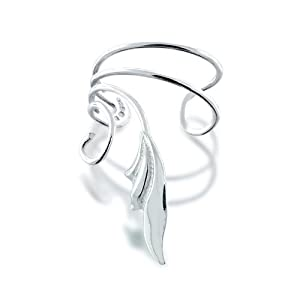 Bling Jewelry 925 Sterling Silver Stylized Leaf Vines Ear Cuff Left Ear