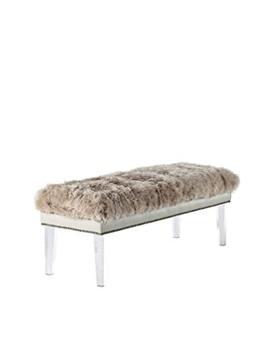 Tov Furniture Luxe Sheepskin Lucite Bench Natural