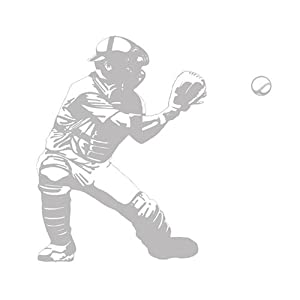 BASEBALL CATCHER sports SHADOW WALL APPLIQUE wallpaper