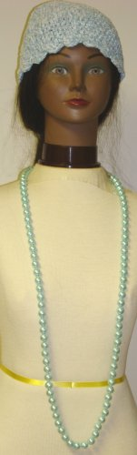 One Strand Light Blue Simulated Pearl Long Chain Necklace Offered with Hand Crocheted Blue Chenille and Gimp Tweed Skull Cap