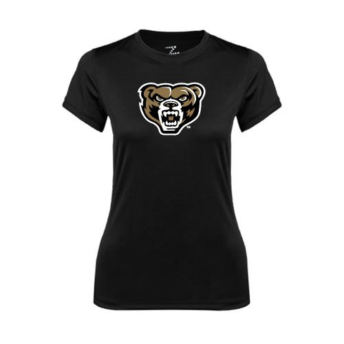 Oakland University Ladies Syntrel Performance Black Tee 'Grizzly Head'