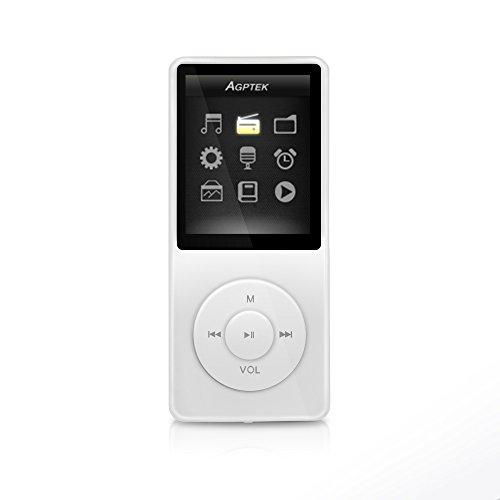 """AGPTek- A02 IL lettore MP3 8 GB schermo 1,8"""" con Radio e registratore, Bianco"""