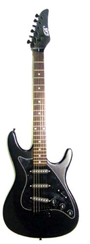 "Full Size 39"" Inch Black Electric Guitar & Gig Bag, Strap, Cable, & Directlycheap(Tm) Translucent Blue Medium Guitar Pick"