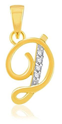 "YouBella American Diamond Gold and Rhodium plated Jewellery Pendant – Letter ""D"" : Best Rakhi Gift Jewellery"