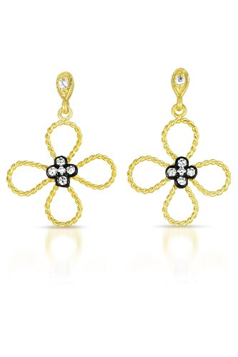 Cubic Zirconia Black and Gold Plated Flower Earrings