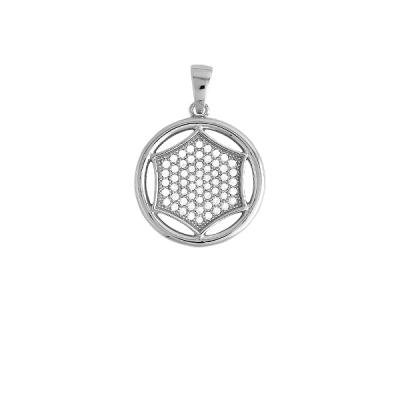 New Fashion Necklace Pendant Jewelry Sterling Silver Circle with Inner White Micro Pave Polygon Shape (WoW !With Purchase Over $50 Receive A Marcrame Bracelet Free)