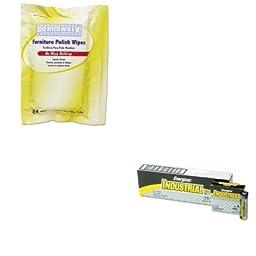 KITBWK346WEVEEN91 - Value Kit - Boardwalk Furniture Polish Wipes (BWK346W) and Energizer Industrial Alkaline Batteries (EVEEN91)