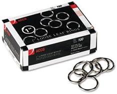 Metal Book Rings 1quot Diameter 100 RingsBox
