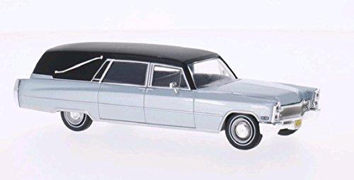 Cadillac Hearse, silver/matt black, 1966, Model Car, Ready-made, WhiteBox 1:43 (Hearse Model compare prices)
