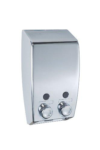 WENKO 18401100 Dispenser sapone a doppio erogatore Varese Cromo - 2 scomparti da 450 ml ciascuno,  2 x 0.45 L, Materiale plastico, 13.5 x 25 x 8 cm, Cromo