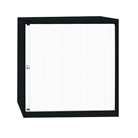 Bisley ET408/11/2S 118 cm Euro Tambour White Shutter with 2 Shelves - Black
