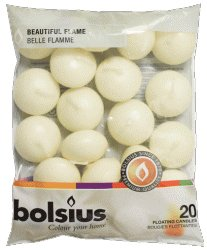 20 Bolsius 5 Hour Quality Ivory Floating Candles By White Candle Company by Bolsius