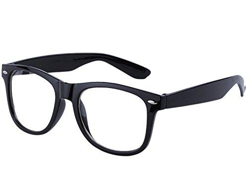 Moonar®Fashion Unisex Clear Lens Wayfarer Nerd Stylish Glasses (Black)