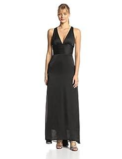 Ever Pretty Women's Trailing V-Neck Ruffles Cross Back Bridesmaid Dress, Black, 4