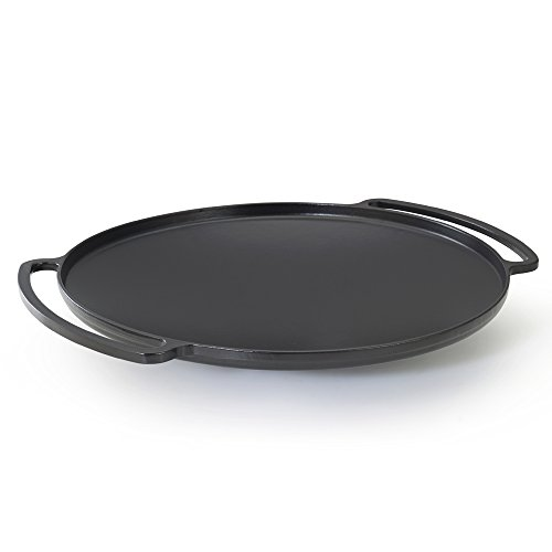 Essenso Chambery Specialty Cast Iron Paella Pan with Four-Layer Enamel Interior and Exterior, Black, 14 Inch