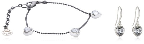 Pilgrim Jewelry Damen-Set: Armband + Ohrringe Messing Kristall Valentine Schmuck Set weiß 901413009