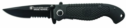 Smith & Wesson CKTACBSD Tactical Serrated Drop Point Knife, Black