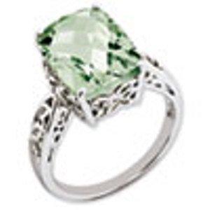Sterling Silver Genuine Green Quartz Ring