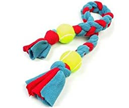 Braided Fleece Rope Tug With 2 Balls 36 inches