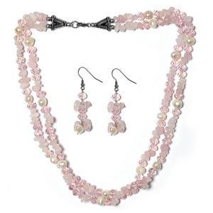 TJC Mix Jewellery Set With Brazilian Rose Stone
