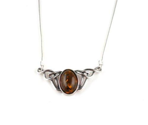 Cognac Amber & Celtic Sterling Silver Necklace