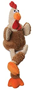 goDog Checkers Skinny Rooster With Chew Guard Technology Tough Plush Dog Toy, Brown, Small