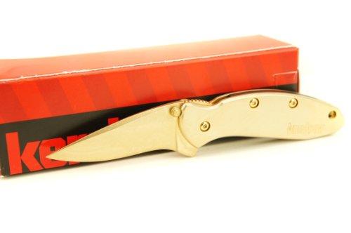 Kershaw Chive 1600 Assisted Opening Pocket Knife, Plain Edge, Satin 24K Gold Finish