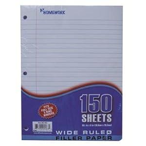 Paper - 150 sh.- Wide Ruled Case Pack 24 : Notebook Filler Paper