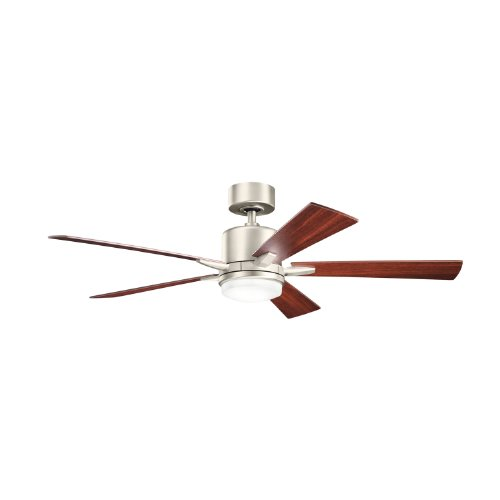 Kichler Lighting 300176Ni Lucien 52-Inch Ceiling Fan, Brushed Nickel Finish With Reversible Silver/Walnut, Blades And Integrated Downlight front-898054