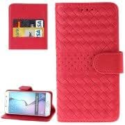Grid Texture Horizontal Flip Solid Color Leather Case with Holder Card Slots Wallet for Samsung Galaxy S6 / G920(Red)