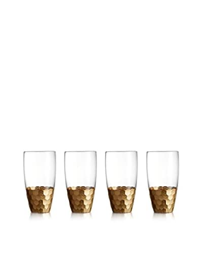 Jay Imports Daphne Hiball Glasses, Set Of 4, Clear/Gold, 17.6-Oz.