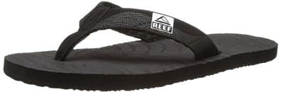 Reef Men's Roundhouse Flip Flop,Black/Black/White,7 M US