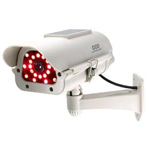 防雨赤外線ソーラー付ダミーカメラ(ボックス型アイボリーR)/(OS-162R)【ダミーカメラ、防犯カメラ、監視カメラ】