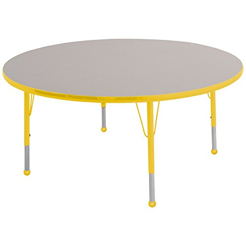 Ecr4kids 48 round activity table toddler legs w ball glides gray top yellow edge general - Table glides for legs ...