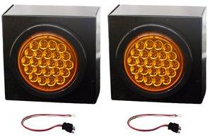 "2 Led Strobe Light Kits 4"" Round Amber W/ Mounting Box"