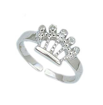 .925 Sterling Silver Crown Toe Ring With CZ Stones