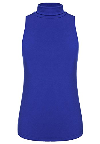 Halife Women's Sleeveless Turtleneck Shaping Tank Top Blouse Mock Turtleneck Shirt Tops (M, Blue)