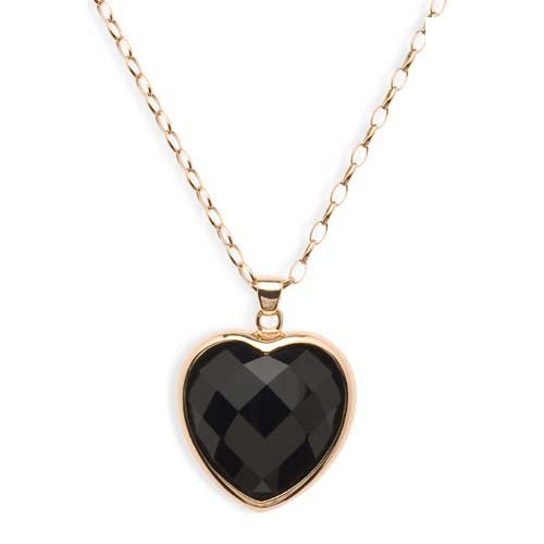 Bronzallure Ladies Necklace in Pink Bronze Gold plated with Onyx, form Heart, weight 21.9 grams