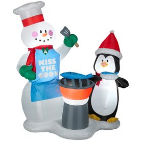 Airblown Inflatable 6 Ft Snowman And Penguin Grilling Huge Discount Associated With Amazon