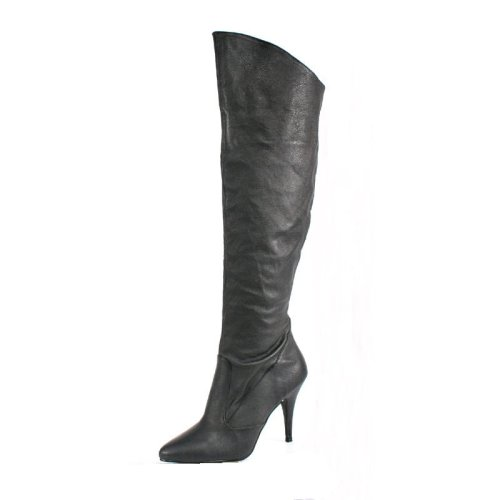 Vanity-2013, 4 Leather Pull-On Cuffed Knee Boot with 1/2 Inside Zip in Sizes 6-16 by Pleaser USA
