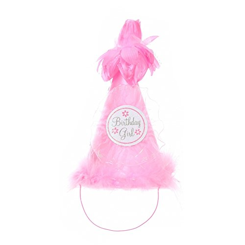Cinderella Couture Girls Pink Faux Fur Flower Pearl Cone Birthday Hat
